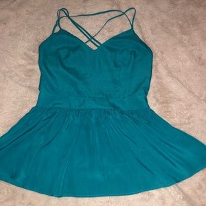 Lavender brown teal ruffle bottom backless tank S
